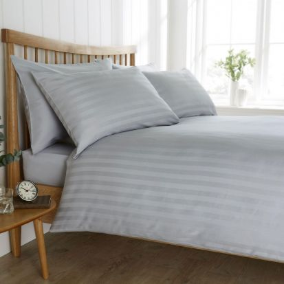 Behrens Heritage Coll. Satin Stripe Pale Grey Duvet Cover Set Double