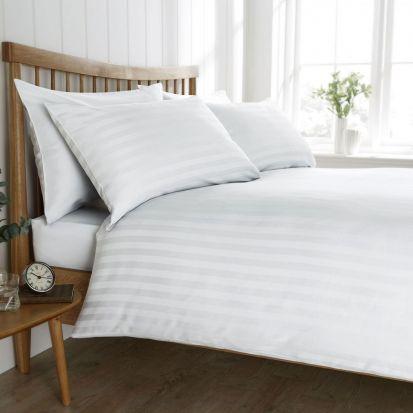 Behrens Heritage Collection Satin Stripe White Duvet Cover Set Single