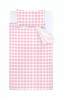 Bianca Check and Stripe Pink Duvet Cover Set - Single
