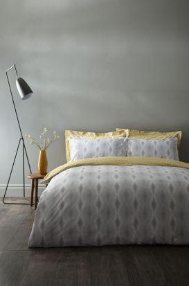 Bianca Cottonsoft Ziggurat Grey Duvet Cover Set - Superking