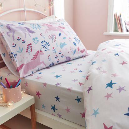 Bianca Woodland Unicorn and Stars Pink Fitted Sheet - Single