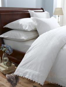 Broderie Balmoral White Duvet Cover Set Double