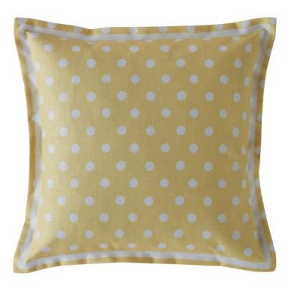 Cath Kidston Button Spot Yellow Filled Cushion