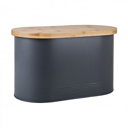 Denby Bread Bin with Bamboo Lid - Grey