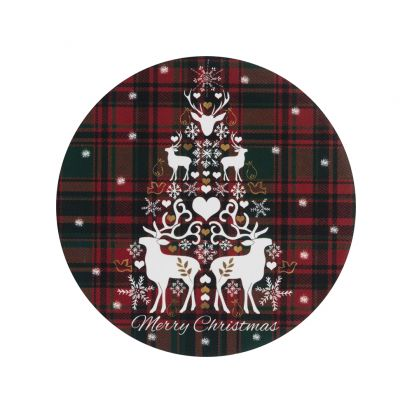 Denby Merry Christmas Tartan Round Set of 6 Coasters