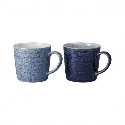 Denby Studio Blue 2 Piece Ridge Mug Set